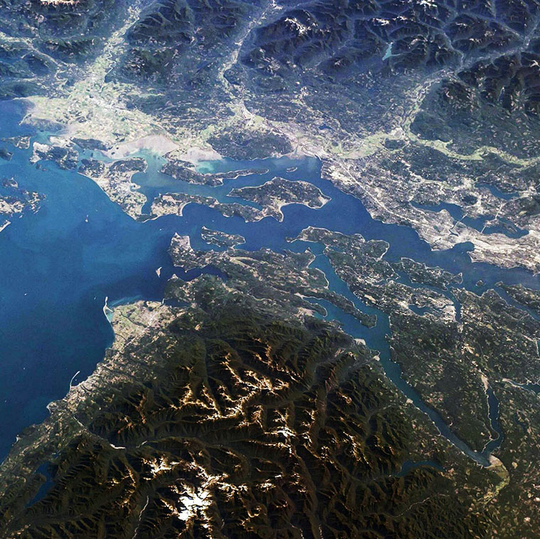 View of the Salish Sea from the International Space Station.